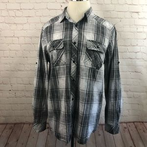 Rock & Republic Plaid Roll-Tab Shirt